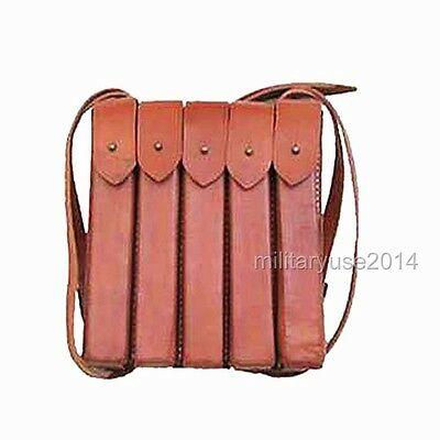 WW2 WWII Russian Leather AK47 Magazine Pouch THOMPSON CHEST RIG One Full Set