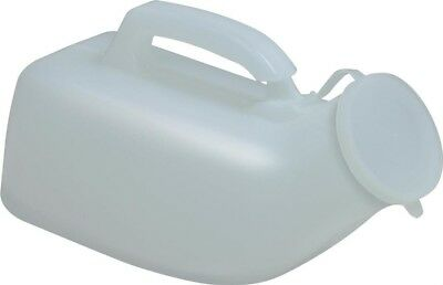 Delux Male 1L Portable Urinal   Integrated Carry Handle & Anti Spill Lid   White