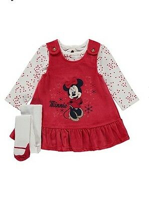 Baby Girls Minnie Mouse Christmas Dress Pinafore Top Outfit 9-12 M George New