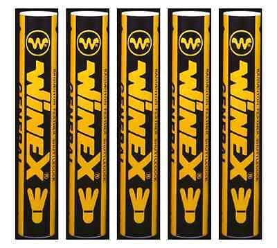 5 Tubes Winex - Premium Grade A Feather Badminton Shuttlecocks RRP: £12.99 Each