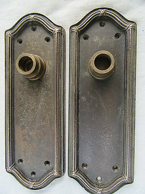 Vintage Pair Door Kbob Back Plates Solid Brass Art Circa 1930