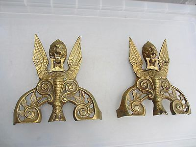 Vintage Cast Brass Fireside Decorations Ornaments Winged Mythical Lion Old