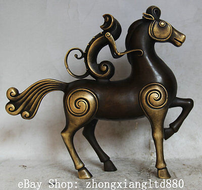 """10"""" Chinese Folk Copper Abstract Monkey Ride Horse Zodiac Year Statue Sculpture"""