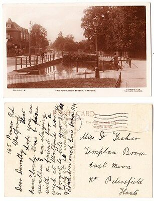 Early Postcard,Hertfordshire,Watford, High St, The Pond  @ Old House  1929 RP