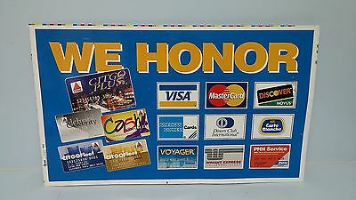 CITGO Metal Sign CREDIT CARDS HONORED Multi Visa Master Card Amex Diners Club ++