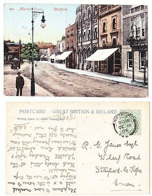 Early Postcard,Hertfordshire,Watford Market Place, Old Shops, Nice View,1906
