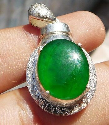 100% Natural Green Jadeite Jade Type A Glassy Pendent Cabochon