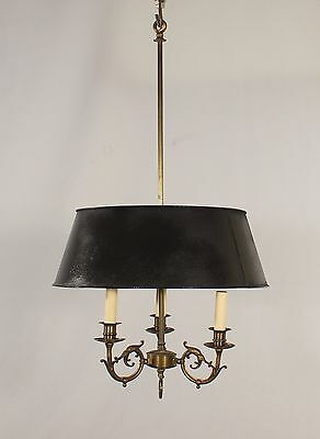 Antique Italian 3 Light Brass Chandelier w/ Black Tole Shade
