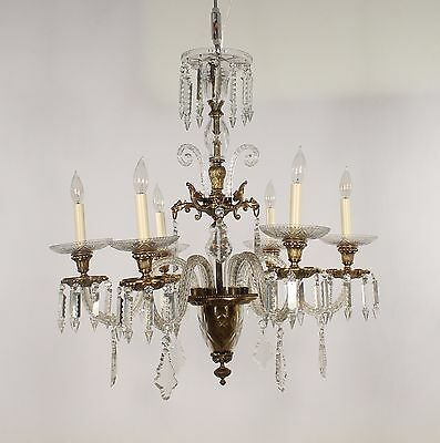 Antique Spanish 6 Light Bronze & Hand Cut Crystal Chandelier
