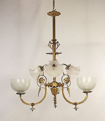 Antique 6 Light Spanish Brass Chandelier w/ Frosted Acid Etched Glass Shades
