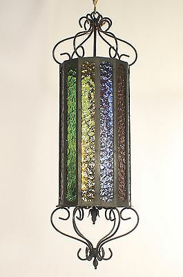 Antique Spanish Black Wrought Iron Lantern w/ Multi-colored Glass (circa 1950s)