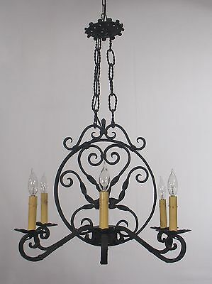 Antique Black Wrought Iron Chandelier (France 1920's)