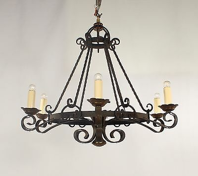 Antique French Hand Forged Black Wrought Iron with Brass Chandelier circa 1920's