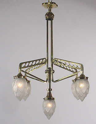 Antique Art Deco Polished Brass Chandelier circa 1920's Spain