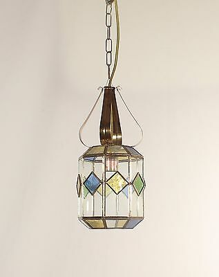 Andalusian 1 Light Leaded Glass Lantern w/ Brass Crown