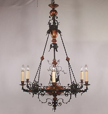 Antique French Black Iron and Copper Chandelier (circa 1900s)