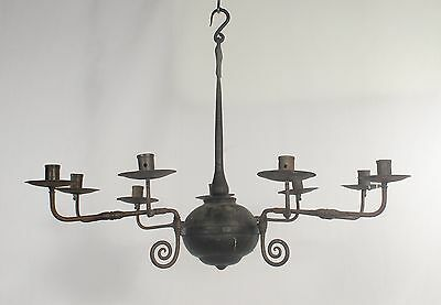 Non-electrified Black Wrought Iron Chandelier