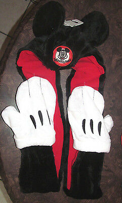 Disney Parks Mickey Mouse MOUSEKETEERS All in One Ears Hat Scarf Mittens - NEW