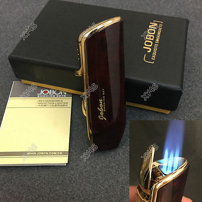 JOBON Triple Flame Torch Jet Butane Cigar Cigarette Lighter Wood color with Box