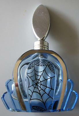 Art Deco Glass Perfume Scent Bottle Blue Cobweb Chrome