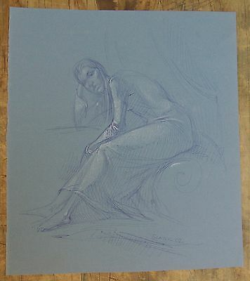 Original Art Blue Ink Woman Female Figure Life Drawing by Miriam Slater Signed