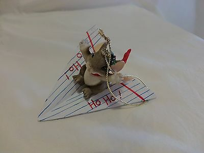 Charming Tails HO HO MOUSE IN PAPER AIRPLANE ORNAMENT DEAN GRIFF(1366)