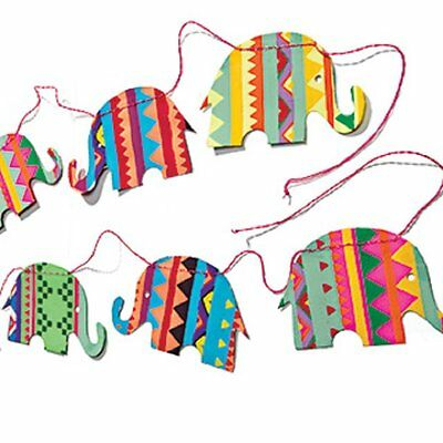NAMASTE Bright Aztec Print Elephant Bunting Decoration Childrens Room Fair Trade