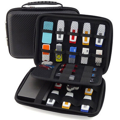 Large Capacity Leather Bag Carrying Case for Mobile Drive,Cards,USB Flash Drives