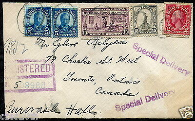 p464 - NEW YORK 1931 Registered Special Delivery Cover to Toronto Canada