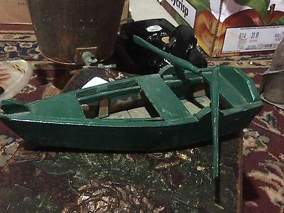 Vintage Handmade Wood Row Boat Model Maritime Antique Tramp Art Craft Ship