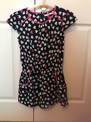 M&S Girls Age 9-10 Years Navy Blue Pink White Playsuit With Love Hearts