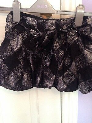 Girls Age 7 Years Black And Silver Skirt From Next