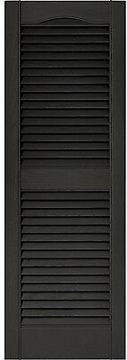 Builders Edge Louvered Vinyl Exterior Rectangle Windows Shutters Pair in Black