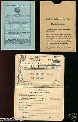 T2 - CANADA Smithville Ontario 1922 Motor Vehicle Permit. Ford. League Card