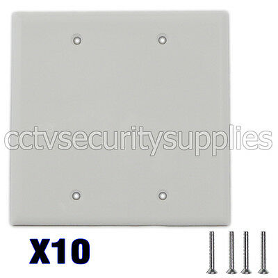 10 x Blank Plastic Face Plate Cover Unbreakable Wall Plate 2 Gang White