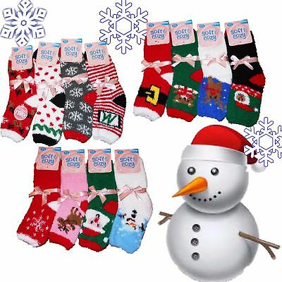 Lot Of 6 Pair Women's Christmas Fuzzy Softy Asst Print Ankle Socks Size 9-11 NEW