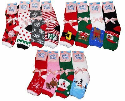 Lot Of 12 Pair Women's Christmas Fuzzy Softy Asst Print Ankle Socks Size 9-11