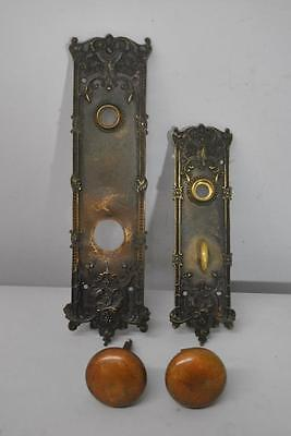 Pair Of Antique Victorian Style Heavy Brass Door Back Plates And Knobs