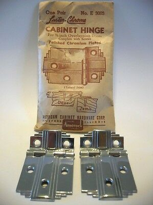 "Vtg NOS CHROME Cabinet Hinges w Lines Stair Stepped Corners 3/8"" Offset Amerock"