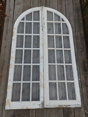 Pr Antique 16 Lite Arched Dome Top French Doors Old Shabby Cottage Chic 2024-16