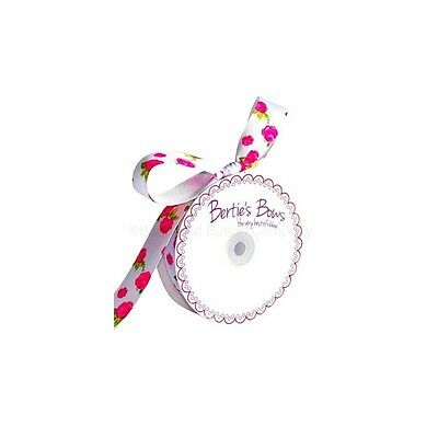 Bertie's Bows 3 Meters White 25mm Grosgrain Rose Print Berties Bows Ribbon