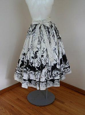 1950s Vintage Sequinned Mexican Circle Skirt Novelty Print Musicians and Dancers