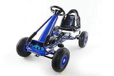 OPEN BOX Go Kart with Foot Pedal Rubber Air Wheels Gear Brake Lever 9588A BLUE