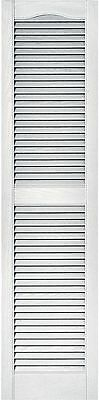 Builders Edge Louvered Vinyl Home Exterior Rectangle Window Shutters Pair -White