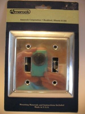 Vintage NOS ALUMINUM Double LIGHT SWITCH Wall COVER Plate Beveled Edge Amerock