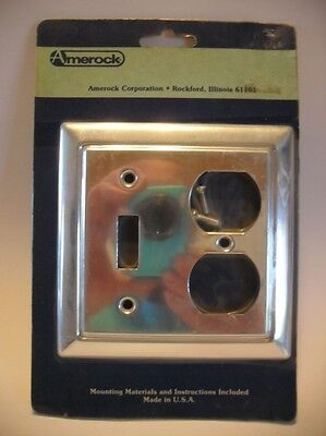Vtg NOS ALUMINUM LIGHT SWITCH Outlet Combo Wall COVER Plate Beveled Edge Amerock