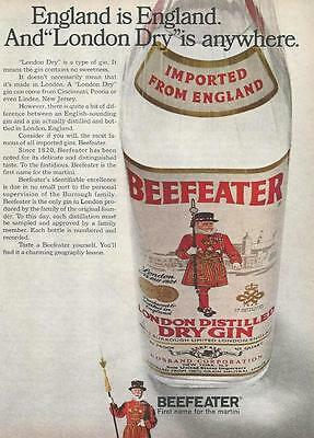 """1968 LONDON BEEFEATER GIN """"England is England"""" VINTAGE PRINT AD"""