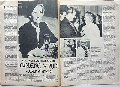 MARLENE DIETRICH =  2 pages 1974 vintage SPANISH CLIPPING / COUPURE DE PRESSE