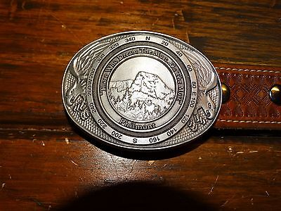 15858 Vintage Boy Scouts of America PHILMONT Tooled Leather BSA Belt & Buckle 36