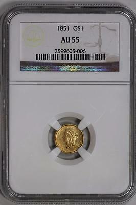 1851 $1 Gold Liberty Head Eagle AU 55 NGC US Mint Coin